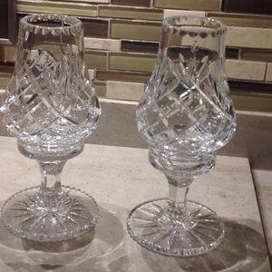 2 Vintage Galway Irish Crystal Candleholders